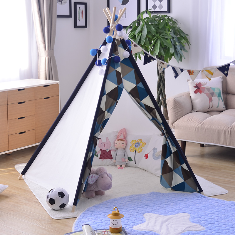 Colorful Kid Play Tent Cotton Canvas Kids Teepee with custom design