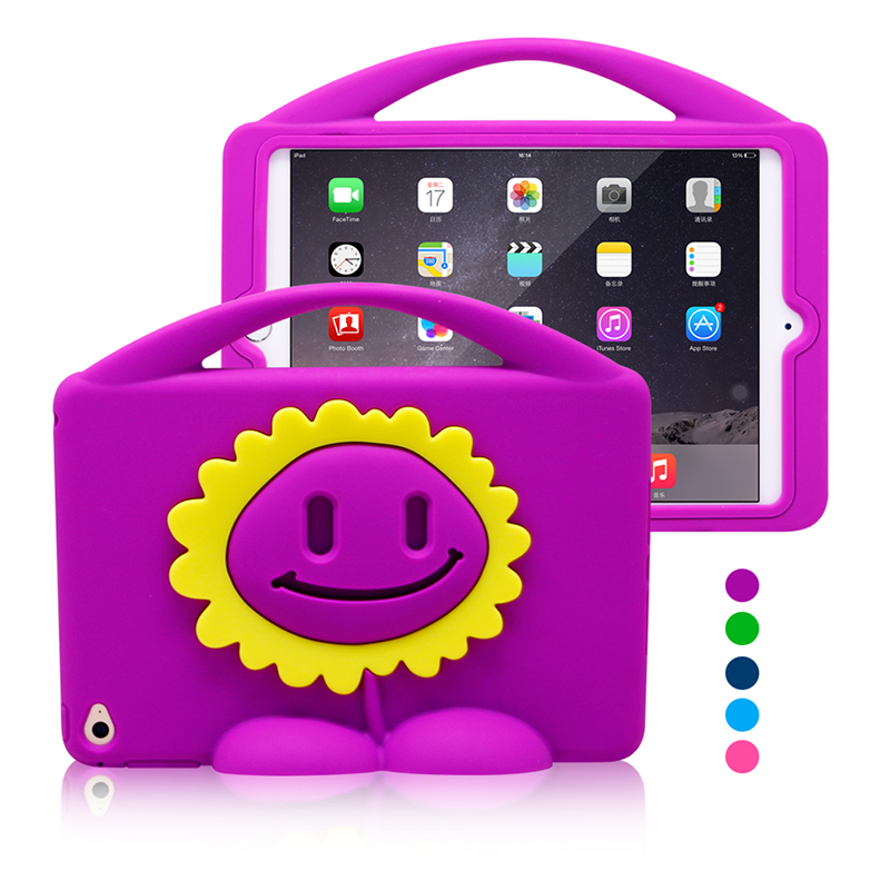 Cute Sunflower Portable Soft Silicon Case For iPad Mini 4 Stand Handle Protective Cover