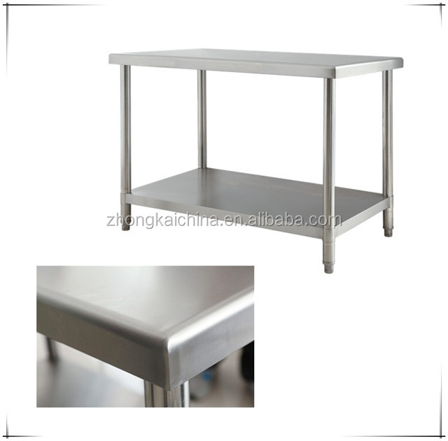 restaurant hotel commercial kitchen layers stainless steel worktable work table with adjustable shelf top shelves