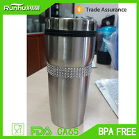 Best Promotional Drinkware - 14oz double wall stainless steel travel mug / Tumbler with flip lid & silicone sleeve RHPS319-14