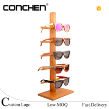 2017 fashion Natural Bamboo sunglasses display rack eyewear display stand sunglasses holders for shop