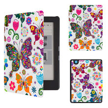 "Printed PU leather cover case hard back protective cover skin for 2017 kobo aura h2o edition 2 6.8"" water proof ereader"