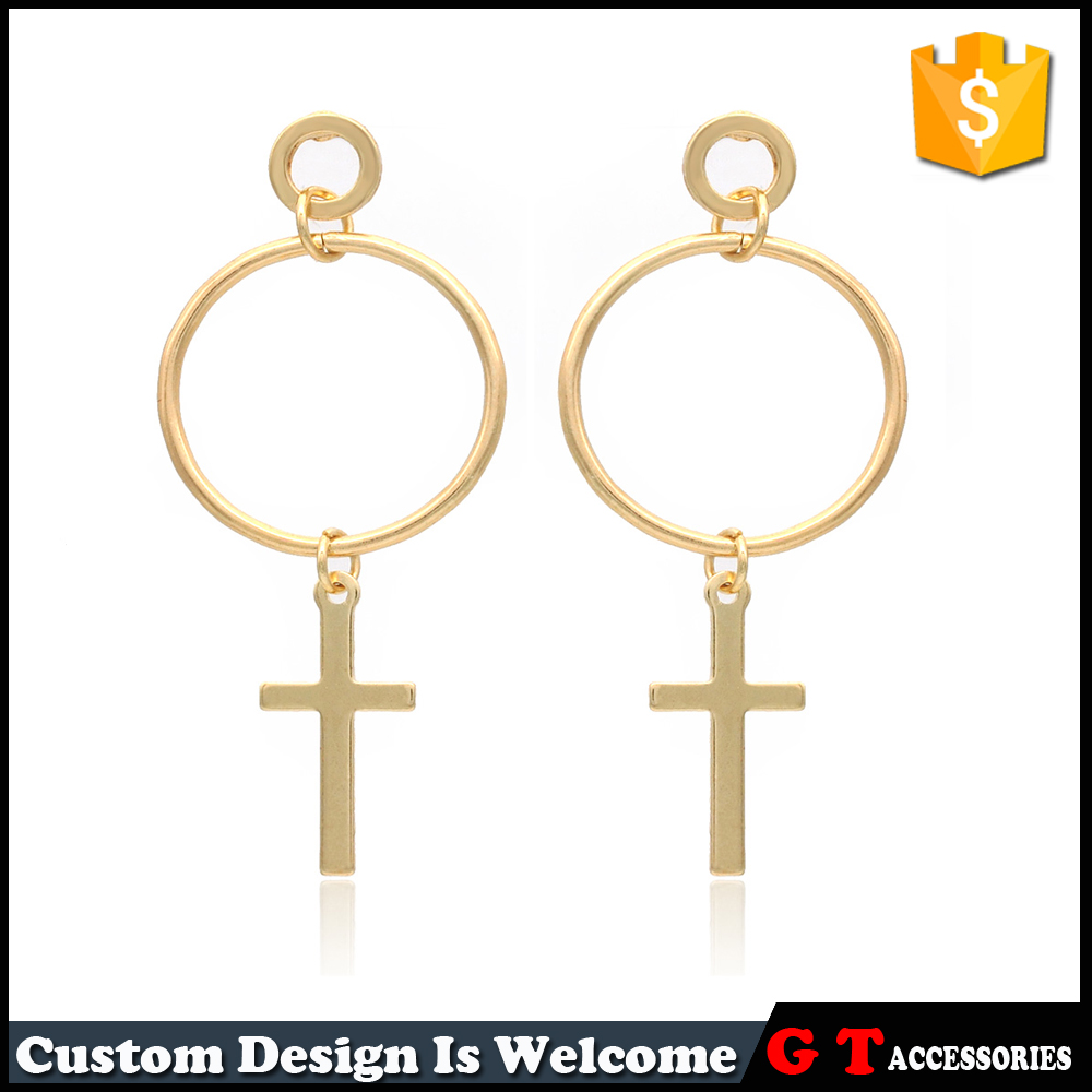 Gold Color Big Round Circle New Model Women Stud Earrings With Cross Pendant