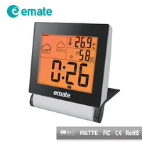 Table weather station digital room thermometer and hydrometer clock with roation cover factory price weather station