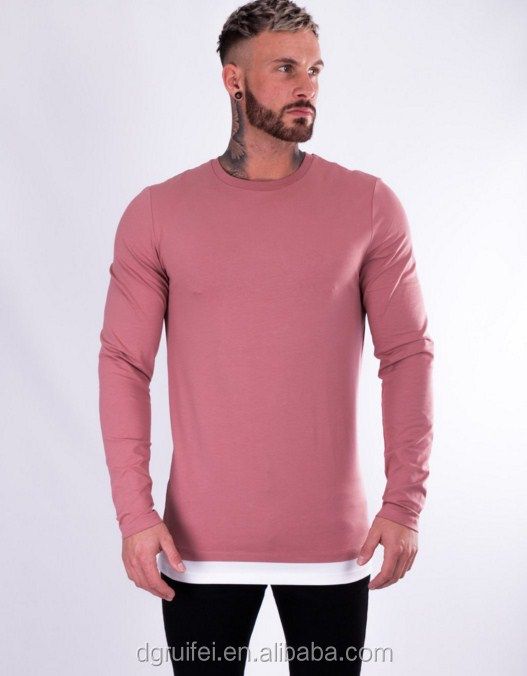 wholesale bodybuilding gym wear custom mens hip hop street shirt slim fit pink long sleeve t shirt