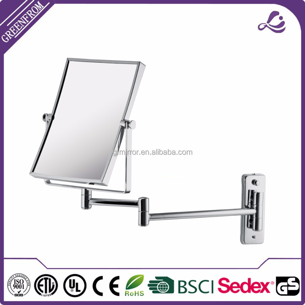 Double Side Wall Mounted Craft Side Metal Square Makeup Mirror