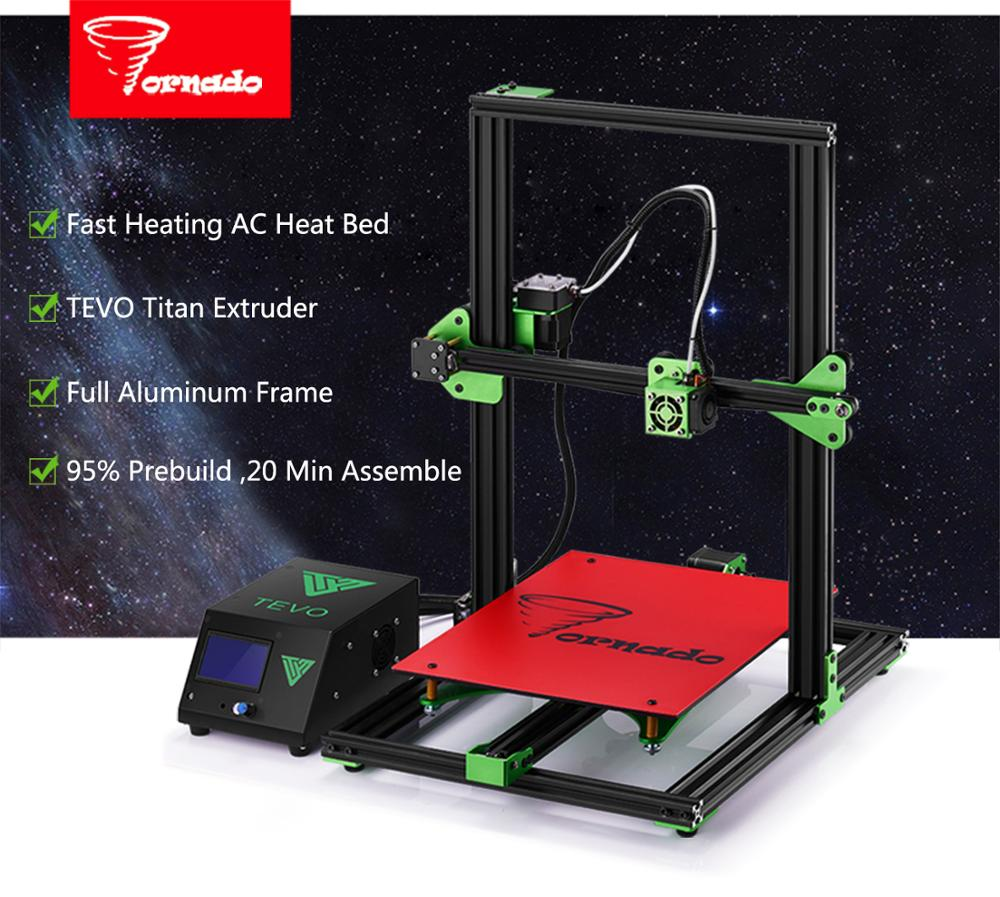 2017 Newest Upgrate TEVO Tornado 3D Printer Impresora 3D Large Printing Assembled full metal frame 3D printer Titan Extruder
