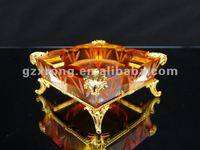 Luxury gold COPPER series crystal glass and copper ashtray VP-135a