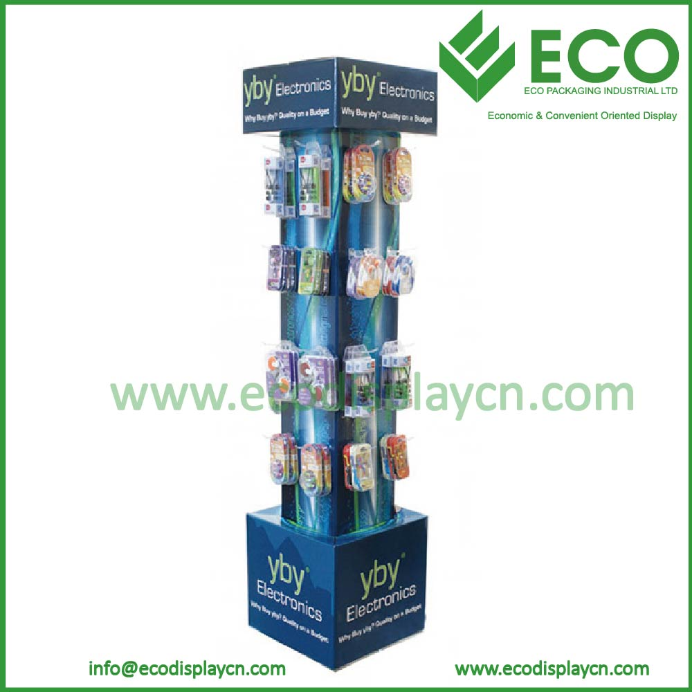 Advertising Cardboard Display for Mobile Phone Accessory, Cell Phone Accessory Display Rack