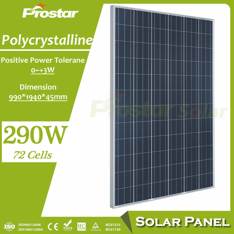 Prostar photovoltaic solar energy facts 290w solar panel for solar air conditioner