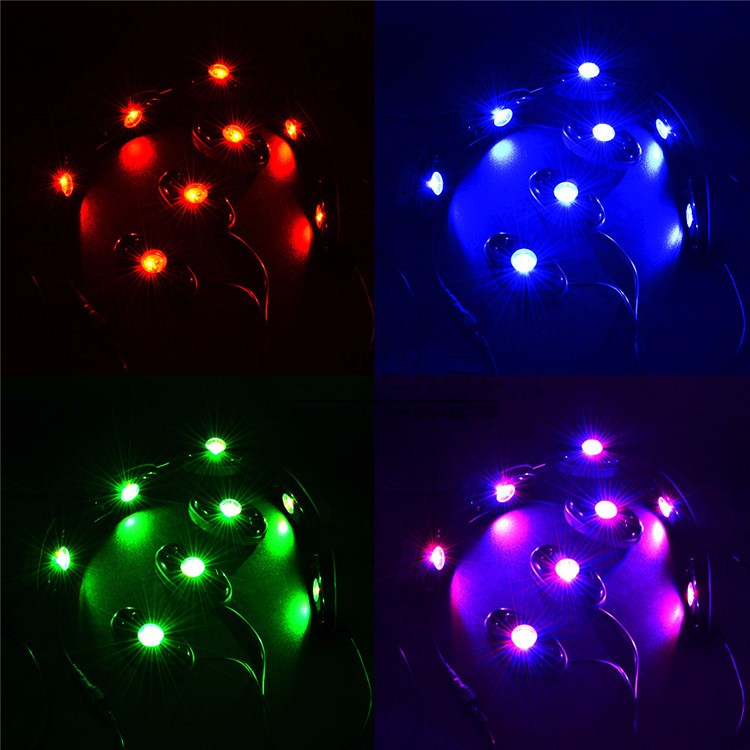BJ-ROL-003 Motorcycle Truck Car 8Pod RGB LED Rock Lights Wireless Bluetooth Music DIY Flashing Multi Color Lamp Timing Function