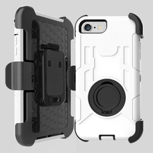 Shockproof Cell Phone 360 Rotating Hybrid Ring Stand Full Cover Case for iPhone 4 5 6 7