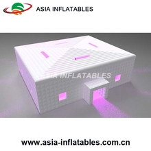 Bespoke portable outdoor inflatable LED cube tent with tunnel, portable air tight shop inflatable building arena tent for party
