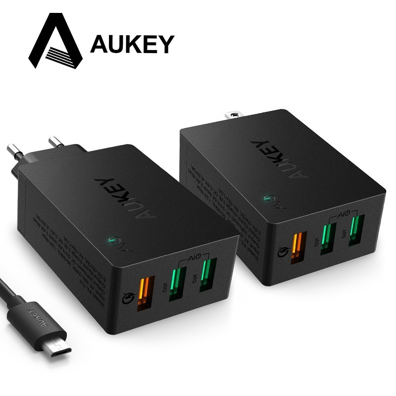 AUKEY PA-T14 3-Port USB Wall Charger with Quick Charge 3.0 for LG,Samsung Galaxy S7/S6/Edge,Nexus(With 1m USB Micro Cable)