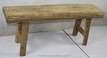 Chinese Solid Elm Wood Natural Color Rustic Long Bench