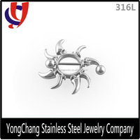 High quality fancy design 316l surgical steel fashion silvery nipple rings nipple stretcher