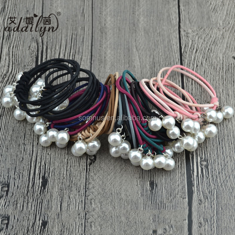 Stocks New Design Pearls Kids Hair Accessories Girls Hair Elastic Band with Beads HB02