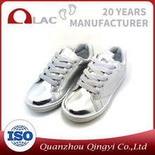 China factory glazed girl casual shoes PU kid shoes