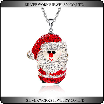 New Arrival Christmas Gift Pave Set Santa Claus Silver 925 Pendant Necklace