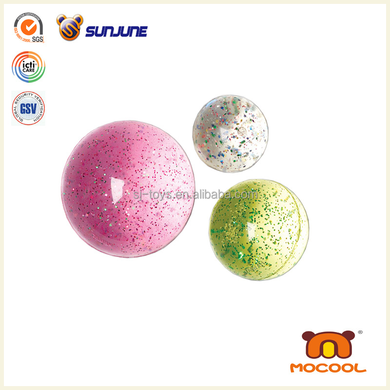 100mm glitter water bouncing ball, flashing light led ball
