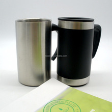 Stainless Steel Double Wall Cup Mini Coffee Travel Mug With Horn Handle
