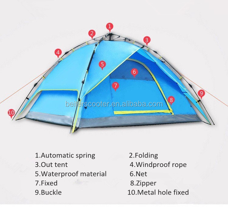 210*210*150 Automatic upgrades outdoor tent camping double bunk 3-4 people thickened air defense rainstorm 006-6507