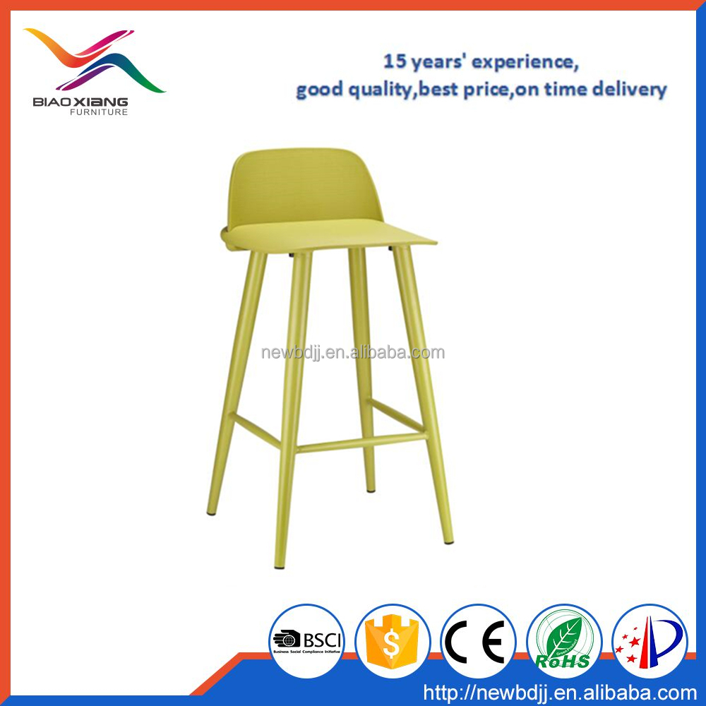 Marcaron bright colored plastic bar stool with metal legs XH-8063