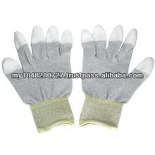 13 Gauge White Nylon Liner Coated White PU on Finger Tips Gloves/PU Fabric Gloves