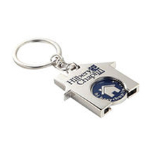 House Shape Promotional Shopping Trolley Coin Keychain With Soft Enamel