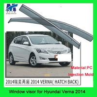 100%quality PC type car accessory window visor compatible for hyundai verna custom car decoration