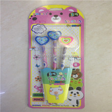 heart shaped eraser topper pencil 3pcs card package colorful HB wooden pencil black writing pencil for kids gift