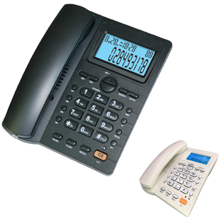 Black/Beige Caller ID Phone for Home/Office Desktop with Speaker and Memory