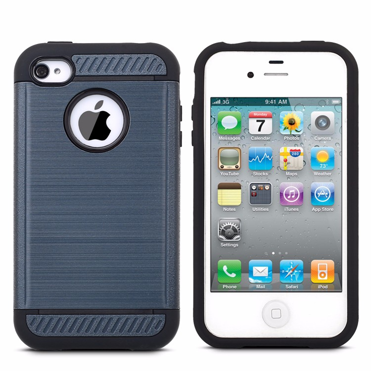 shockproof brushed pc tpu armor phone case for iphone 4 , hard mobile cover for iphone 4s