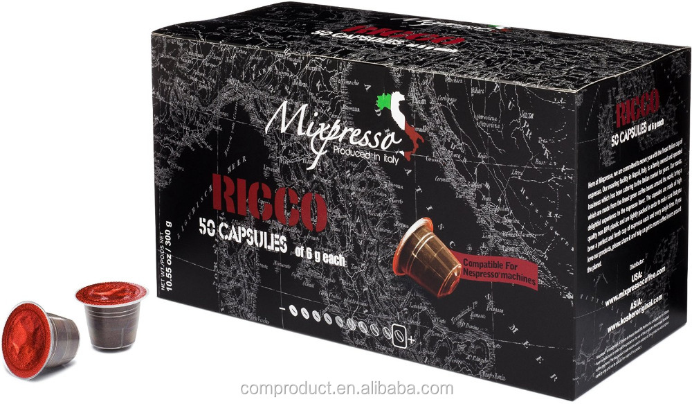 Kosher Original Italy Mixpresso RICCO Espresso 50 coffee capsules compatible for Nespresso machine