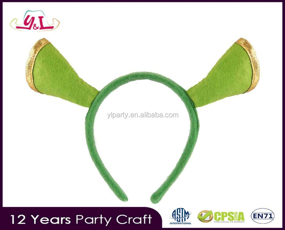 2017 New Premium Halloween New SHREK Green Ogre Ears Headband Movie Promo