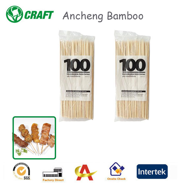 Natural Bamboo Disposable Long Handle BBQ Tool for kebab