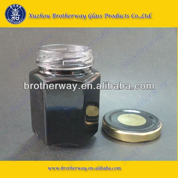 110ml black color glass jar with tin plate