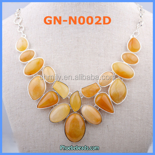 Wholesale New Arrival Yellow Tiger Eye Gemstone Necklaces GN-N002