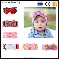 Cute Kids Baby Toddler Infant Solid Hair Bows Hair Band paillette Bowknot Girls Headband HA-1111