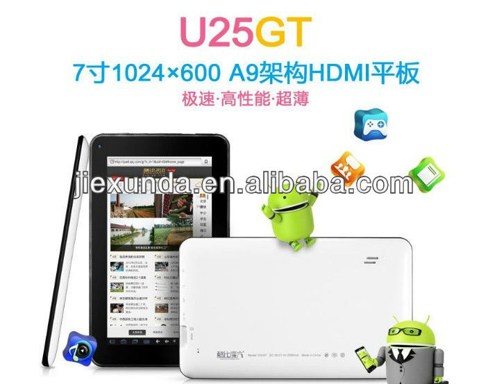 New Cube U25GT 7inch android 4.1 tablet PC 512RAM 8GB ROM RockChip RK2928 1.0GHz WIfi OTG HDMI 5 Point Capacitive Screen