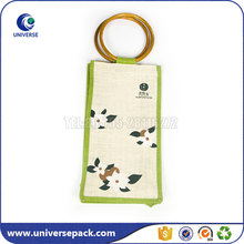 customized single wine bottle bag jute bag with clear window
