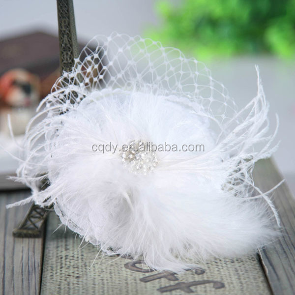 New Style Feathers and Bead Decorated Bridal Hair Comb