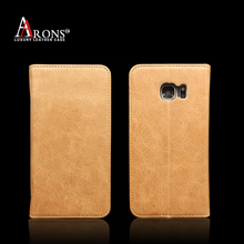 2016 Amazon Hot selling phone case genuine cowhide leather flip phone case wallet for Samsung S7 case
