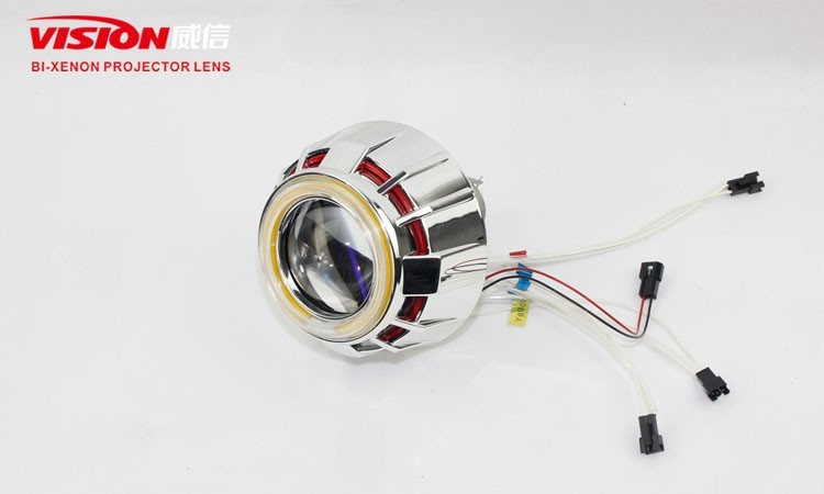 Vision 2.5 inch CCFL angel eye hid bi-xenon lens White/Red/Blue/Green/Purple/Yellow CCFL Angel Eyes with Led Devil Eyes