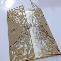 royal with pearl brooch old gold laser cut wedding invitations card & wedding favours