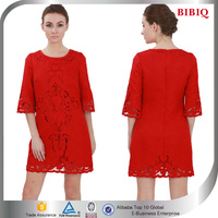 Fashionable Ladies Knee Length Embroidery Red Women Fashion Casual Dresses