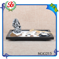 SGG213 Ganesh Miniature Statue And Zen Garden Candle Holder