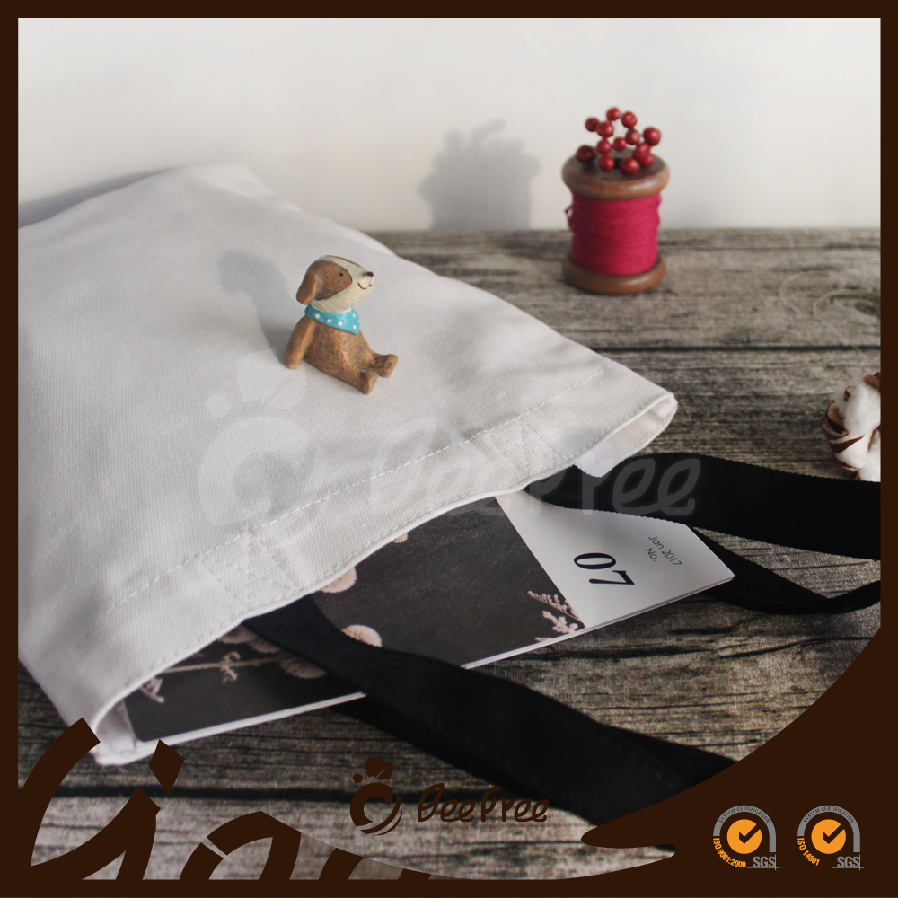 Fashionable Black Handle Shopping Eco-freindly Wholesale 20oz Canvas Promotional Cotton Bag
