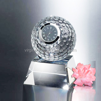 Wholesale golf ball crystal table clock, cheap sports ball timepieces as business gift