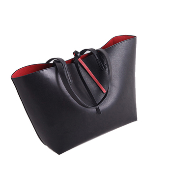 China wholesale red and black leather shopping bags handbag reversible tote women;s bag diaper bag